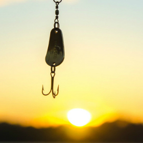 Fishing lure with the sunset at the back