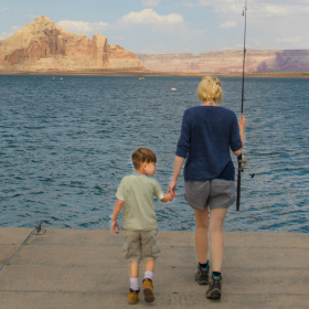 Mom and son fishing together