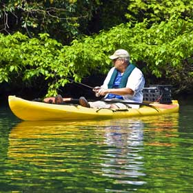 Learn how to fish from a kayak to catch more fish in shallow, secluded spots