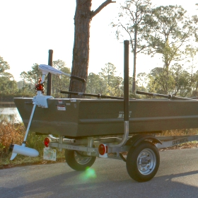 jon boat on a trailer on a trailer