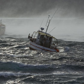 boat in rough waters
