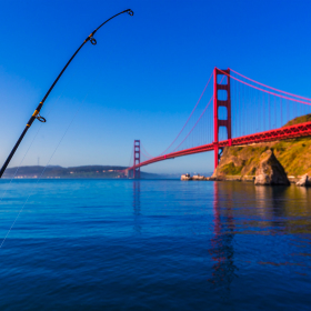 San Francisco Golden Gate Bridge with fishing rod California