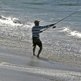surf angler fishing in Southern California