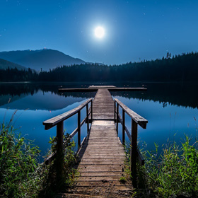 dock with full moon