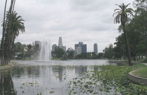 Echo Park with the LA skyline as a back drop